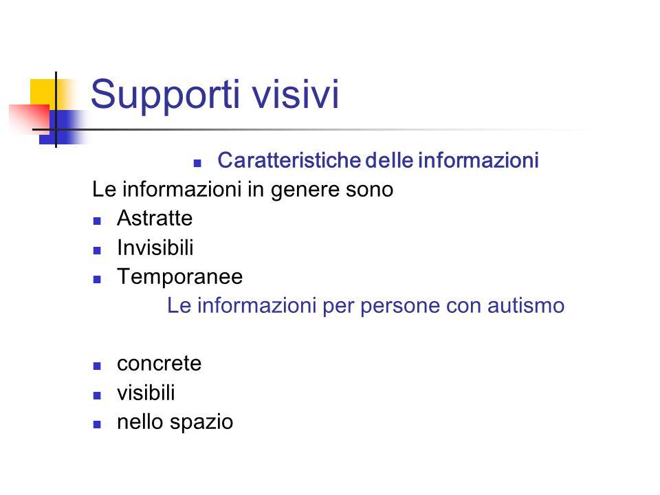 Supporti visivi Caratteristiche delle informazioni Le informazioni in genere sono Astratte Invisibili Temporanee Le informazioni per persone con autis