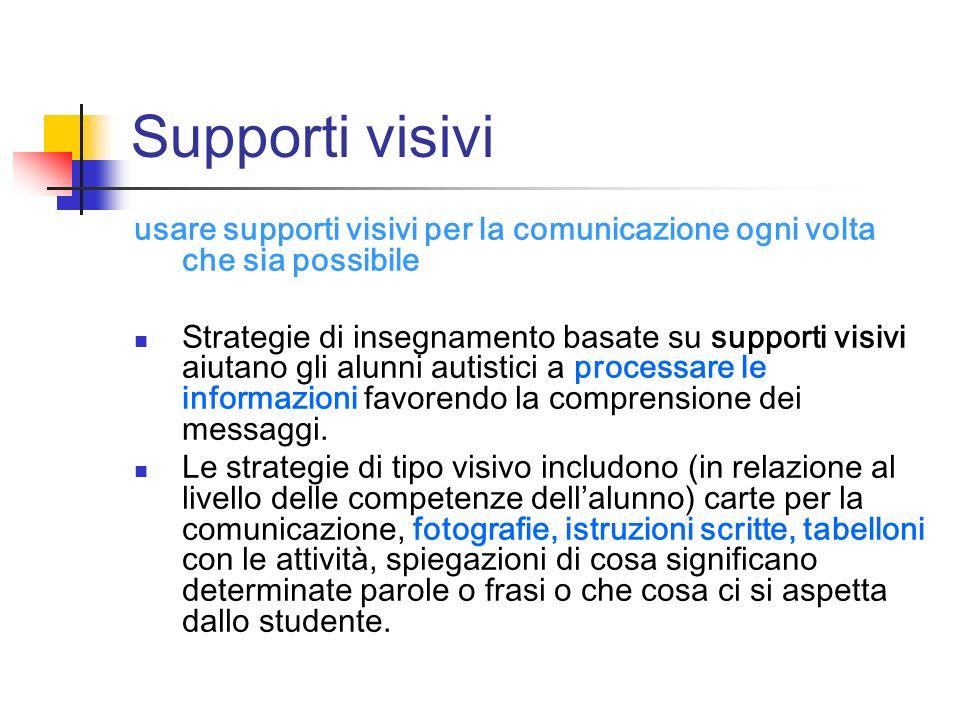 Supporti visivi usare supporti visivi per la comunicazione ogni volta che sia possibile Strategie di insegnamento basate su supporti visivi aiutano gl
