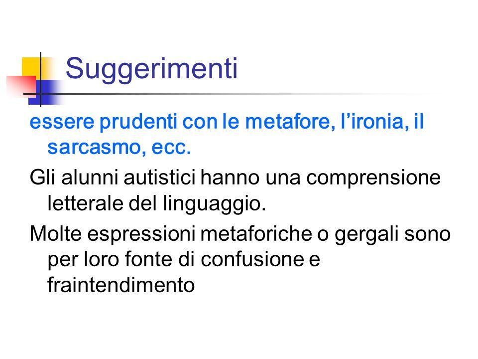 Suggerimenti essere prudenti con le metafore, lironia, il sarcasmo, ecc. Gli alunni autistici hanno una comprensione letterale del linguaggio. Molte e
