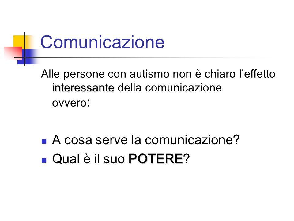 Comunicazione interessante Alle persone con autismo non è chiaro leffetto interessante della comunicazione ovvero : A cosa serve la comunicazione? POT