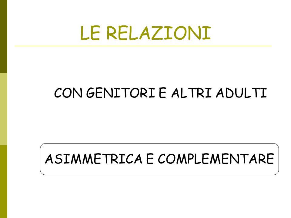 LE RELAZIONI CON GENITORI E ALTRI ADULTI ASIMMETRICA E COMPLEMENTARE
