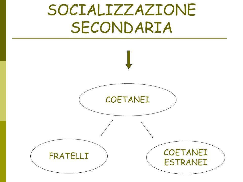 SOCIALIZZAZIONE SECONDARIA COETANEI FRATELLI COETANEI ESTRANEI