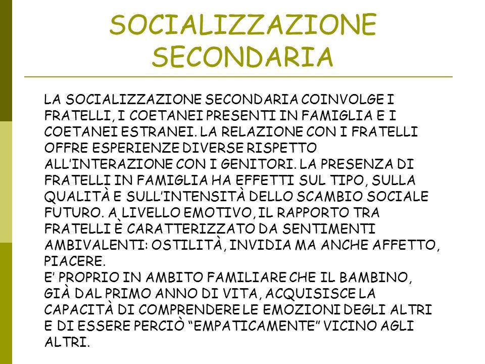 SOCIALIZZAZIONE SECONDARIA LA SOCIALIZZAZIONE SECONDARIA COINVOLGE I FRATELLI, I COETANEI PRESENTI IN FAMIGLIA E I COETANEI ESTRANEI. LA RELAZIONE CON