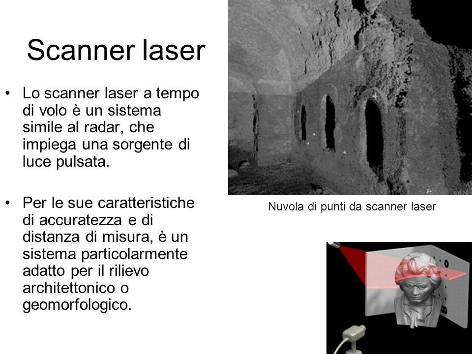62 Scanner laser Lo scanner laser a tempo di volo è un sistema simile al radar, che impiega una sorgente di luce pulsata. Per le sue caratteristiche d