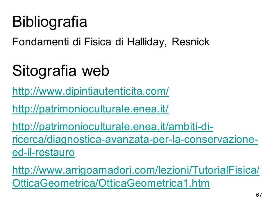 67 Bibliografia Fondamenti di Fisica di Halliday, Resnick Sitografia web http://www.dipintiautenticita.com/ http://patrimonioculturale.enea.it/ http:/