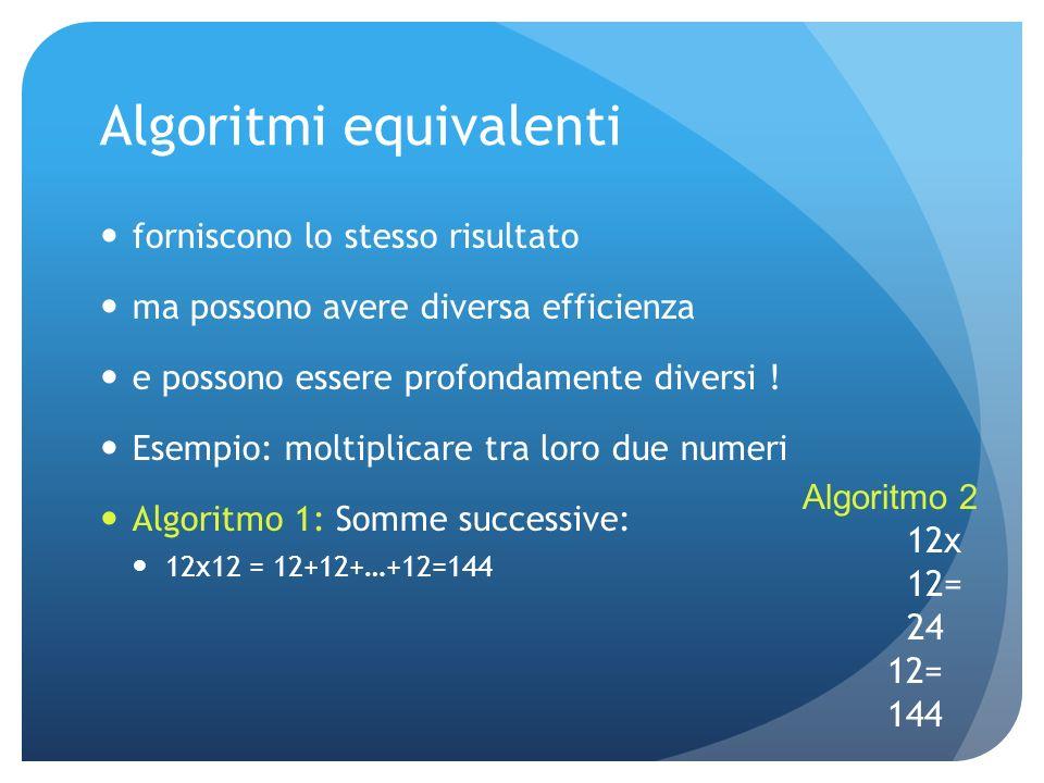 Algoritmi equivalenti forniscono lo stesso risultato ma possono avere diversa efficienza e possono essere profondamente diversi .
