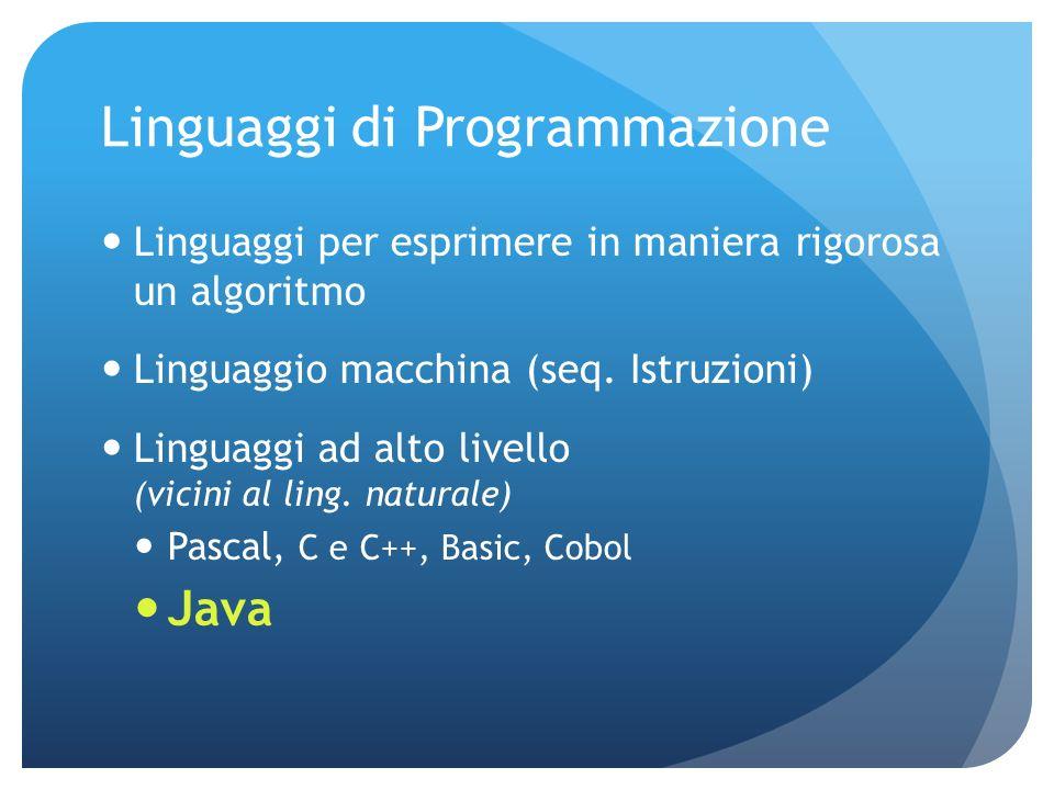Linguaggi di Programmazione Linguaggi per esprimere in maniera rigorosa un algoritmo Linguaggio macchina (seq.