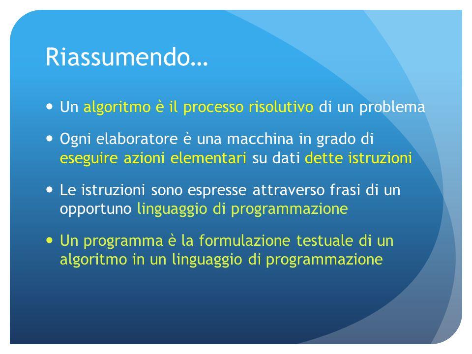 Riassumendo… Un algoritmo è il processo risolutivo di un problema Ogni elaboratore è una macchina in grado di eseguire azioni elementari su dati dette istruzioni Le istruzioni sono espresse attraverso frasi di un opportuno linguaggio di programmazione Un programma è la formulazione testuale di un algoritmo in un linguaggio di programmazione