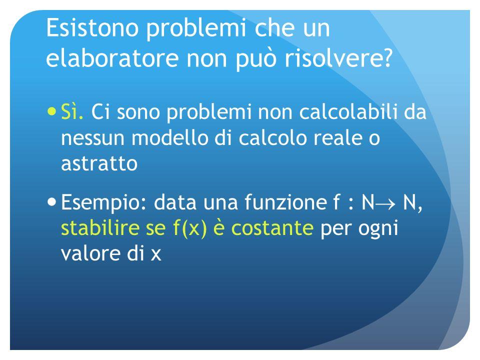 Esistono problemi che un elaboratore non può risolvere.