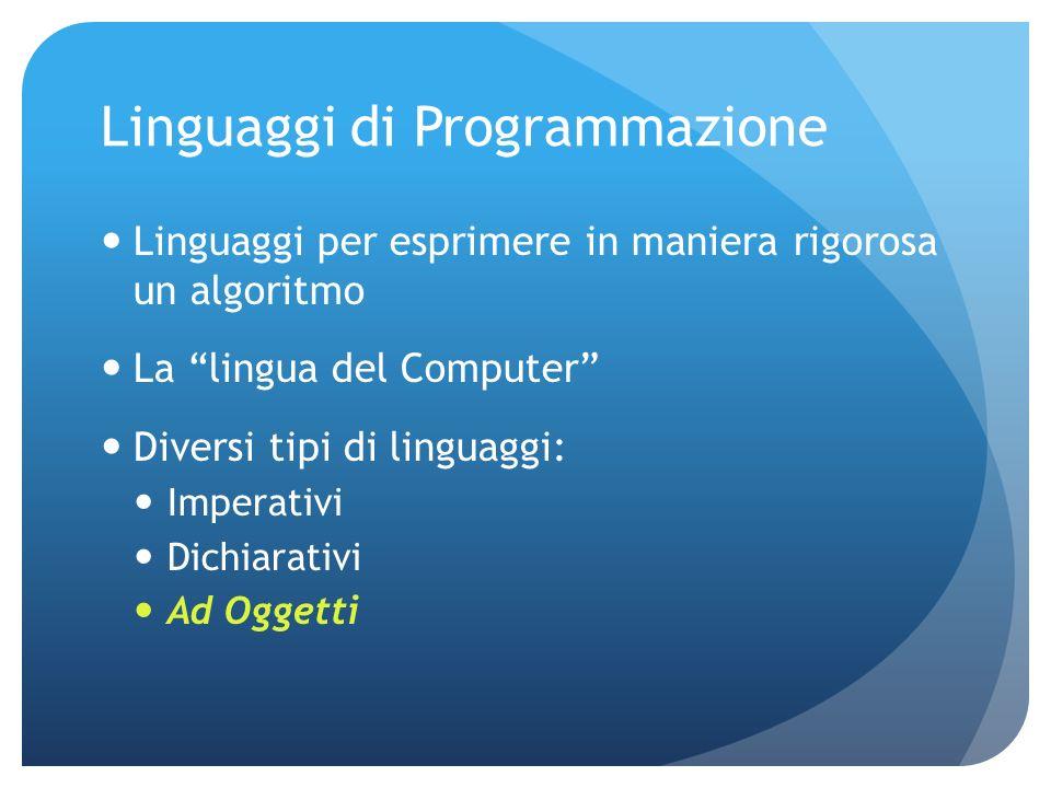 Linguaggi di Programmazione Linguaggi per esprimere in maniera rigorosa un algoritmo La lingua del Computer Diversi tipi di linguaggi: Imperativi Dichiarativi Ad Oggetti