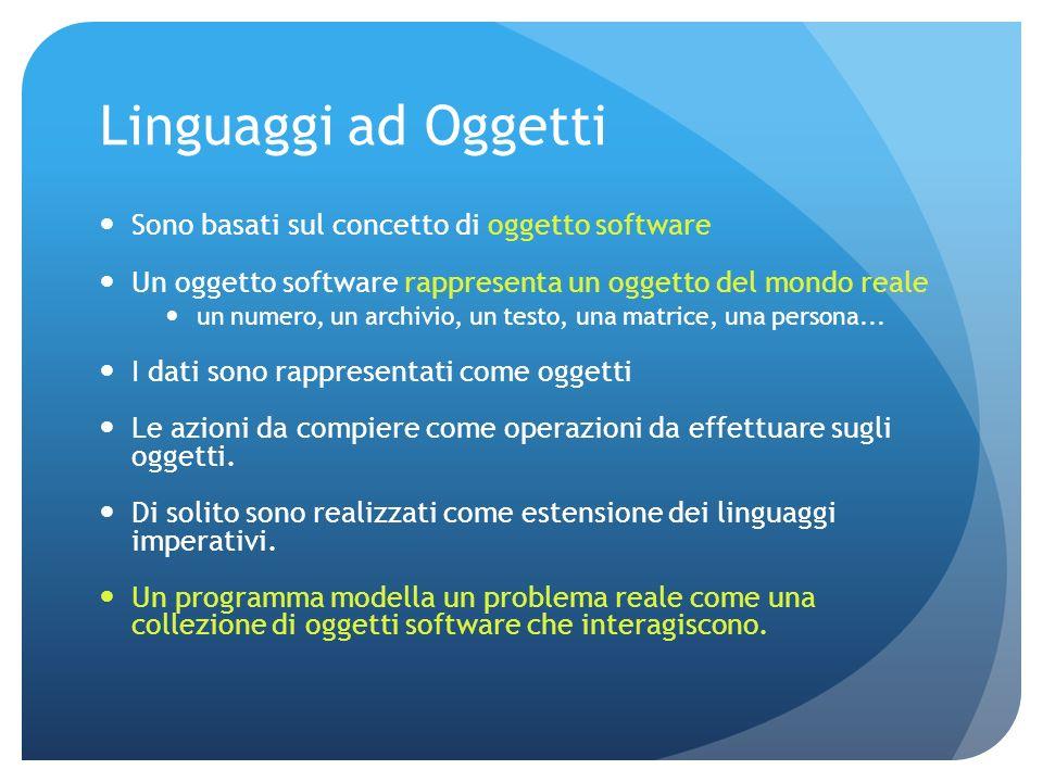 Linguaggi ad Oggetti Sono basati sul concetto di oggetto software Un oggetto software rappresenta un oggetto del mondo reale un numero, un archivio, un testo, una matrice, una persona...
