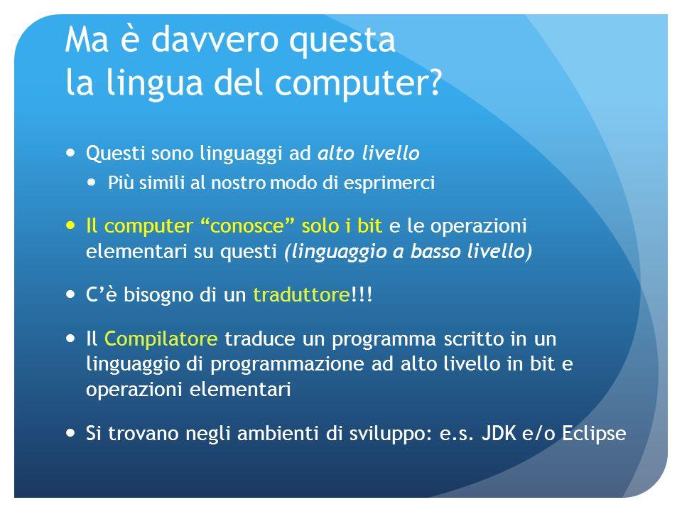 Ma è davvero questa la lingua del computer.