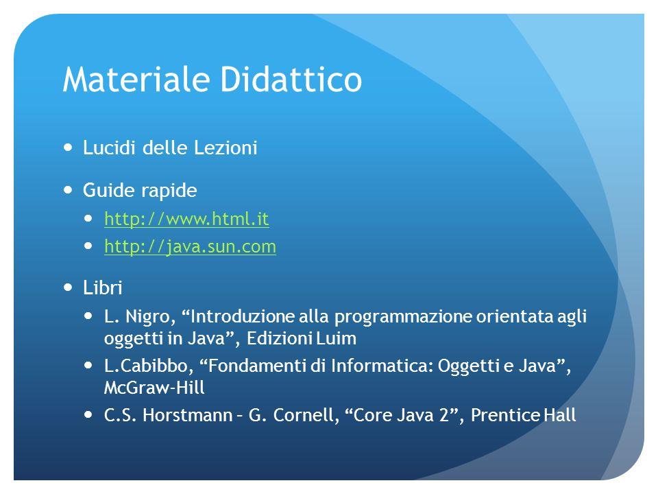 Materiale Didattico Lucidi delle Lezioni Guide rapide http://www.html.it http://java.sun.com Libri L.
