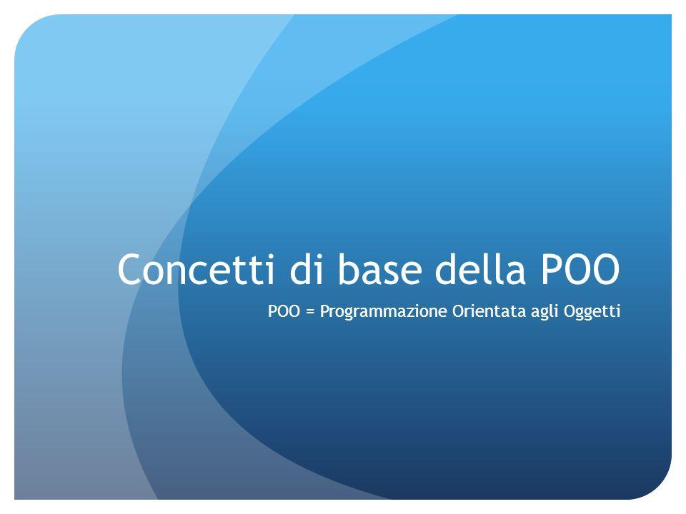 Concetti di base della POO POO = Programmazione Orientata agli Oggetti