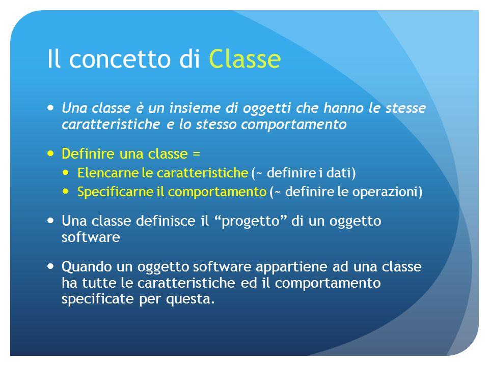 Il concetto di Classe Una classe è un insieme di oggetti che hanno le stesse caratteristiche e lo stesso comportamento Definire una classe = Elencarne le caratteristiche (~ definire i dati) Specificarne il comportamento (~ definire le operazioni) Una classe definisce il progetto di un oggetto software Quando un oggetto software appartiene ad una classe ha tutte le caratteristiche ed il comportamento specificate per questa.