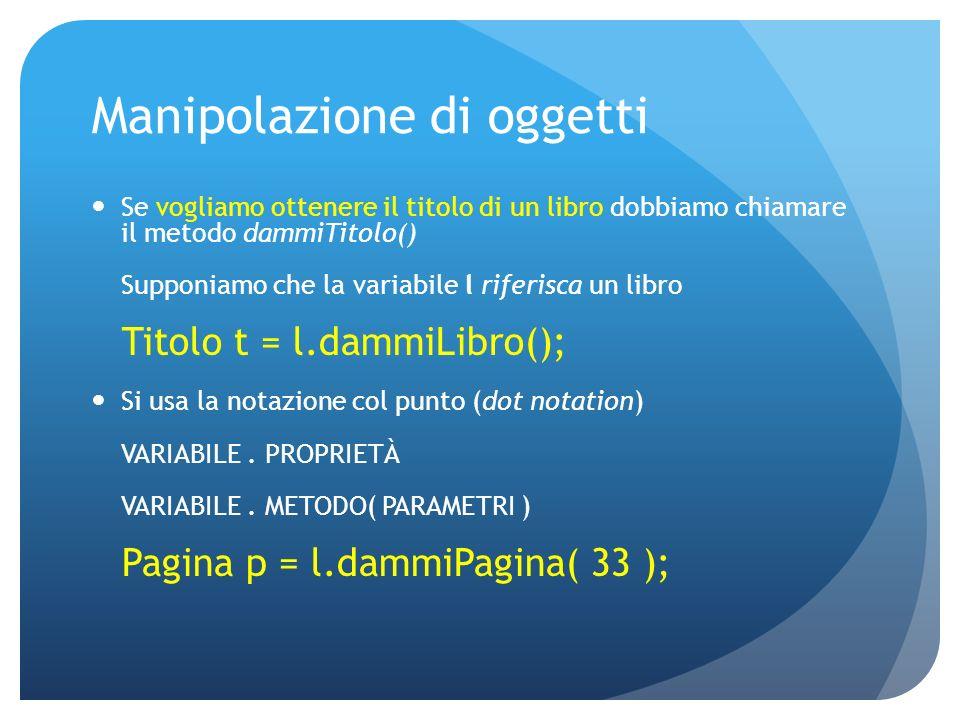 Manipolazione di oggetti Se vogliamo ottenere il titolo di un libro dobbiamo chiamare il metodo dammiTitolo() Supponiamo che la variabile l riferisca un libro Titolo t = l.dammiLibro(); Si usa la notazione col punto (dot notation) VARIABILE.