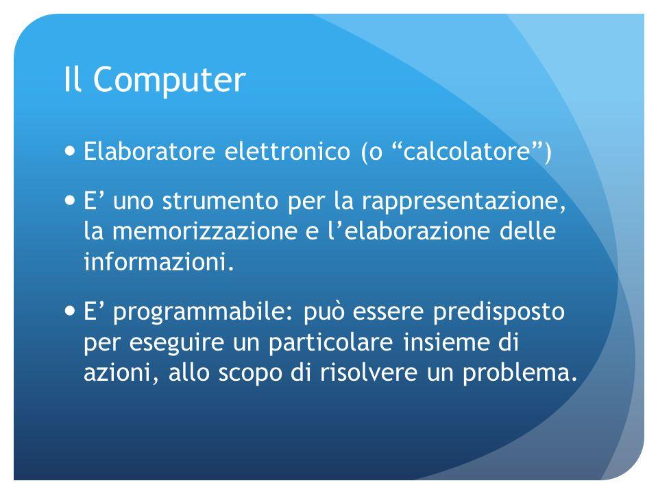 Il Computer Elaboratore elettronico (o calcolatore) E uno strumento per la rappresentazione, la memorizzazione e lelaborazione delle informazioni.