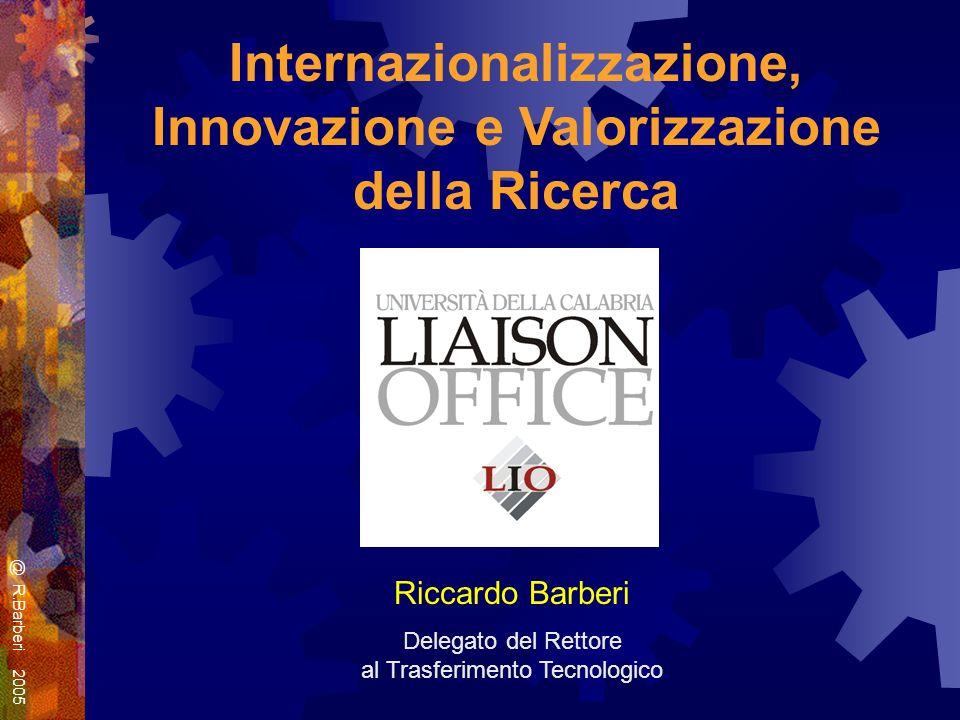Internazionalizzazione, Innovazione e Valorizzazione della Ricerca Riccardo Barberi Delegato del Rettore al Trasferimento Tecnologico @ R.Barberi 2005