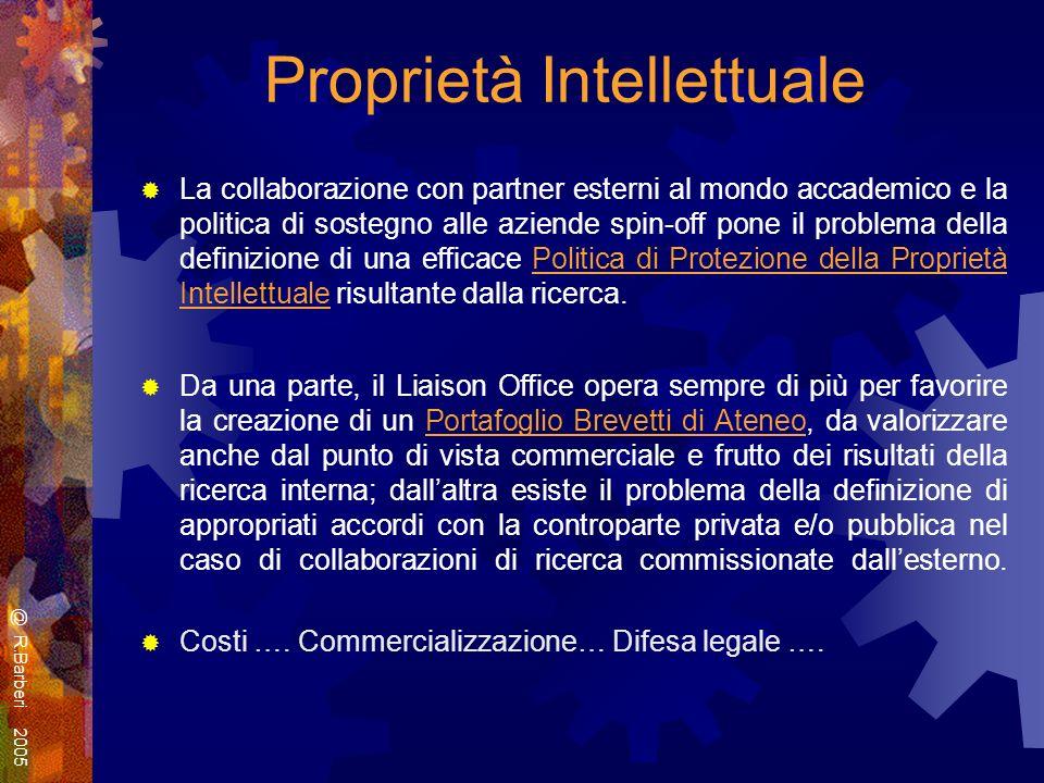 Proprietà Intellettuale La collaborazione con partner esterni al mondo accademico e la politica di sostegno alle aziende spin-off pone il problema della definizione di una efficace Politica di Protezione della Proprietà Intellettuale risultante dalla ricerca.
