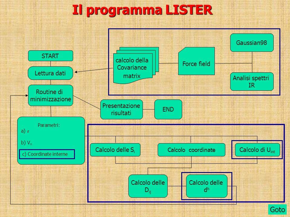 Il programma LISTER START Lettura dati Routine di minimizzazione Calcolo delle D ij Presentazione risultati END Goto Gaussian98 Analisi spettri IR For