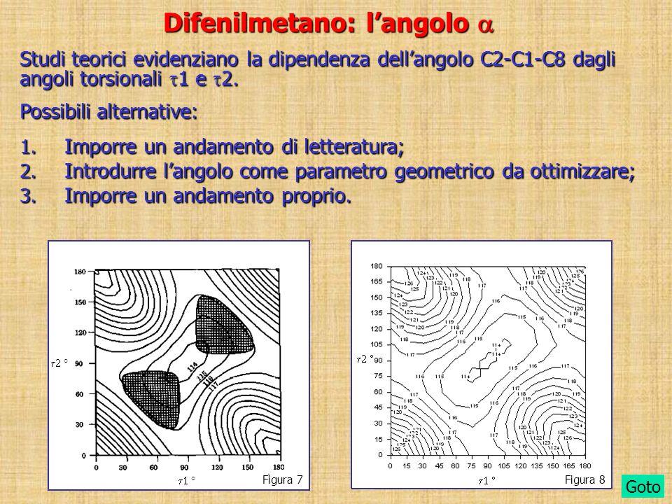 Difenilmetano: langolo Difenilmetano: langolo Possibili alternative: 1. Imporre un andamento di letteratura; 2. Introdurre langolo come parametro geom
