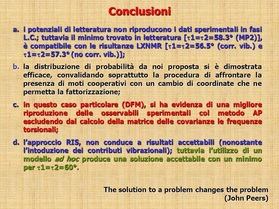 Conclusioni a.i potenziali di letteratura non riproducono i dati sperimentali in fasi L.C.; tuttavia il minimo trovato in letteratura [ 1= 2=58.3° (MP2)], è compatibile con le risultanze LXNMR [ 1= 2=56.5° (corr.