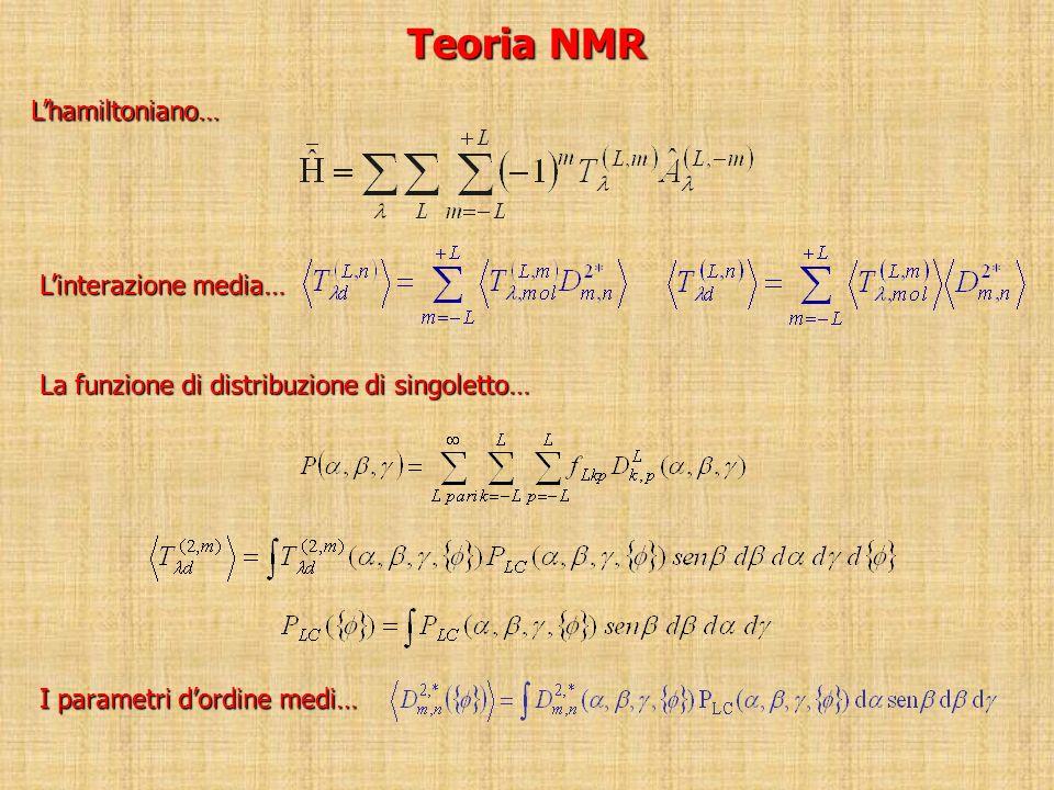Teoria NMR Lhamiltoniano… Linterazione media… La funzione di distribuzione di singoletto… I parametri dordine medi…