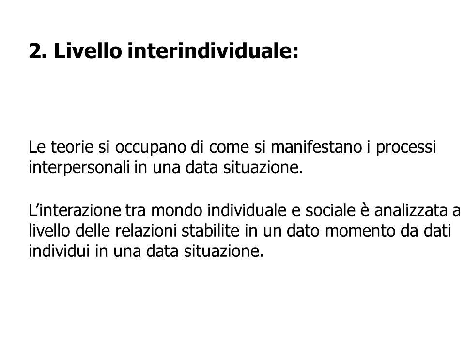 2. Livello interindividuale: Le teorie si occupano di come si manifestano i processi interpersonali in una data situazione. Linterazione tra mondo ind