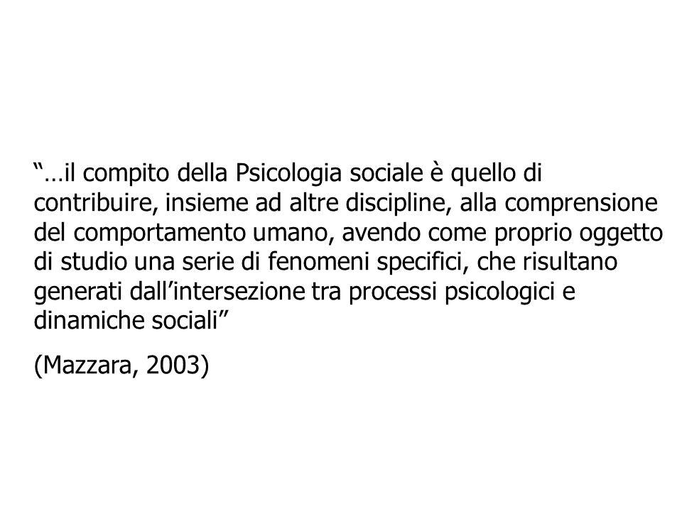 …il compito della Psicologia sociale è quello di contribuire, insieme ad altre discipline, alla comprensione del comportamento umano, avendo come prop