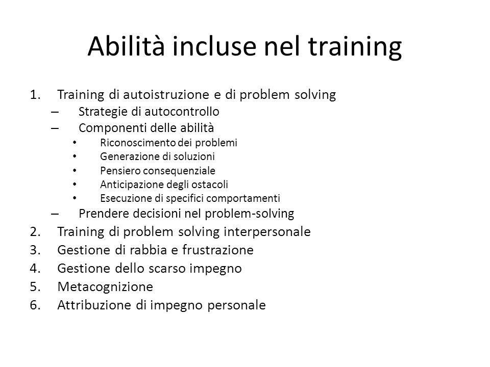 Abilità incluse nel training 1.Training di autoistruzione e di problem solving – Strategie di autocontrollo – Componenti delle abilità Riconoscimento