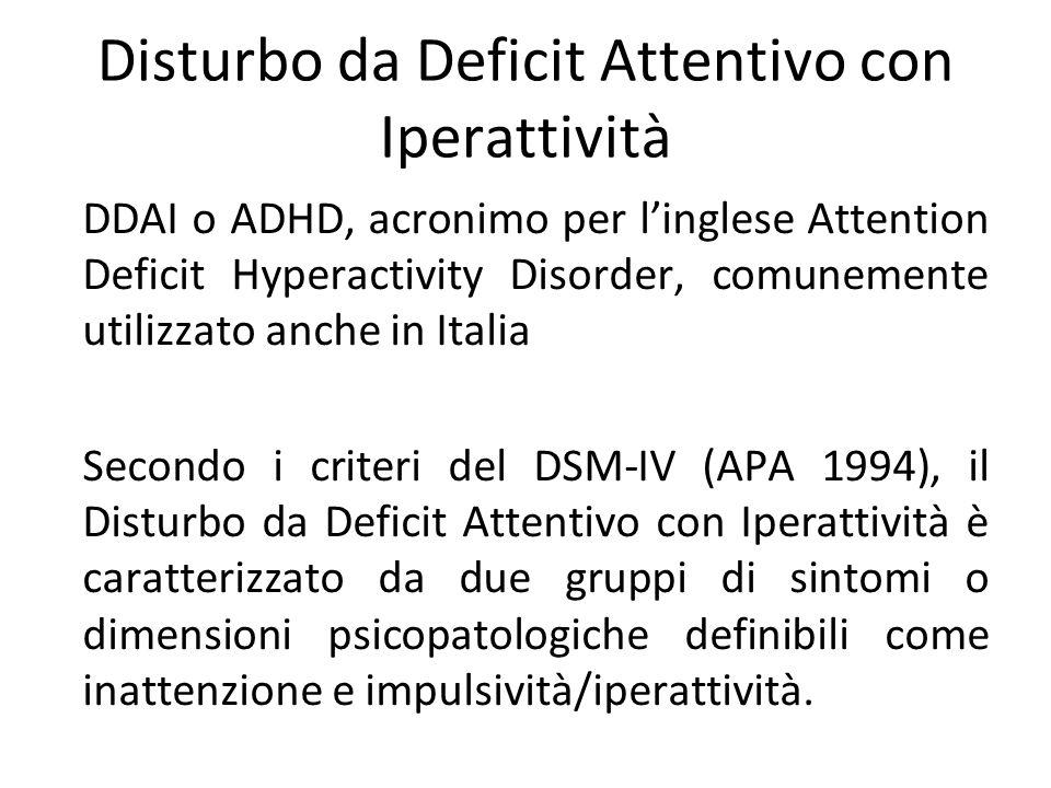 Disturbo da Deficit Attentivo con Iperattività DDAI o ADHD, acronimo per linglese Attention Deficit Hyperactivity Disorder, comunemente utilizzato anc