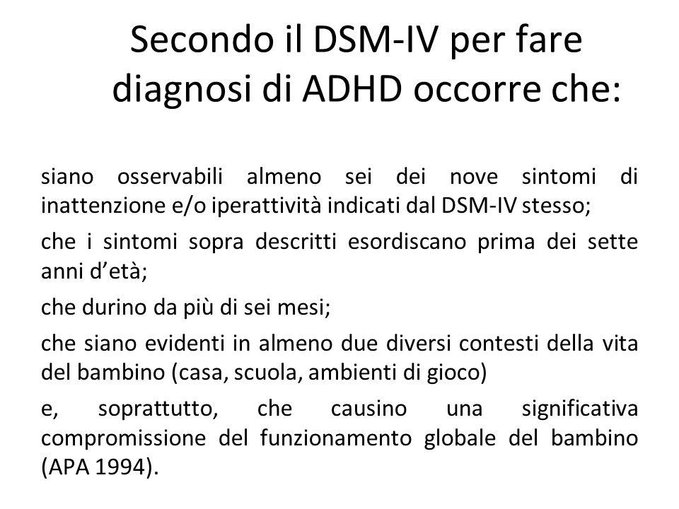 siano osservabili almeno sei dei nove sintomi di inattenzione e/o iperattività indicati dal DSM-IV stesso; che i sintomi sopra descritti esordiscano p