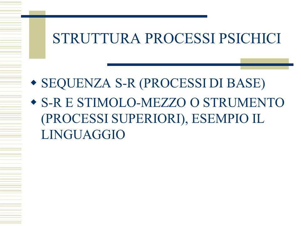 STRUTTURA PROCESSI PSICHICI SEQUENZA S-R (PROCESSI DI BASE) S-R E STIMOLO-MEZZO O STRUMENTO (PROCESSI SUPERIORI), ESEMPIO IL LINGUAGGIO