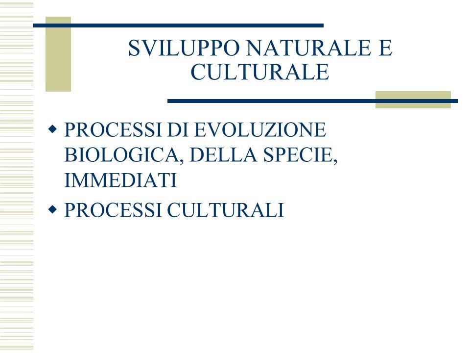 SVILUPPO NATURALE E CULTURALE PROCESSI DI EVOLUZIONE BIOLOGICA, DELLA SPECIE, IMMEDIATI PROCESSI CULTURALI