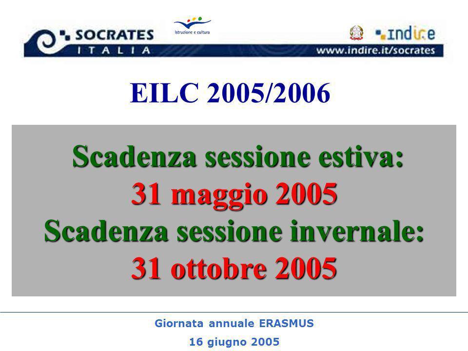 Giornata annuale ERASMUS 16 giugno 2005 EILC 2005/2006 Scadenza sessione estiva: 31 maggio 2005 Scadenza sessione invernale: 31 ottobre 2005
