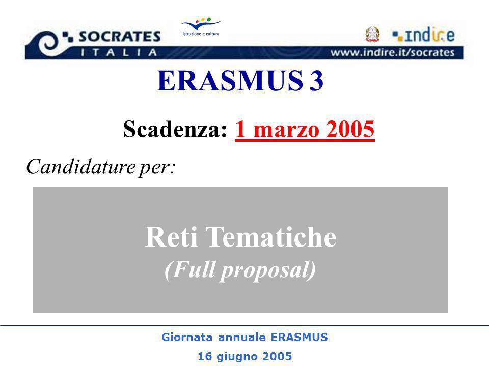 Giornata annuale ERASMUS 16 giugno 2005 ERASMUS 3 Scadenza: 1 marzo 2005 Reti Tematiche (Full proposal) Candidature per: