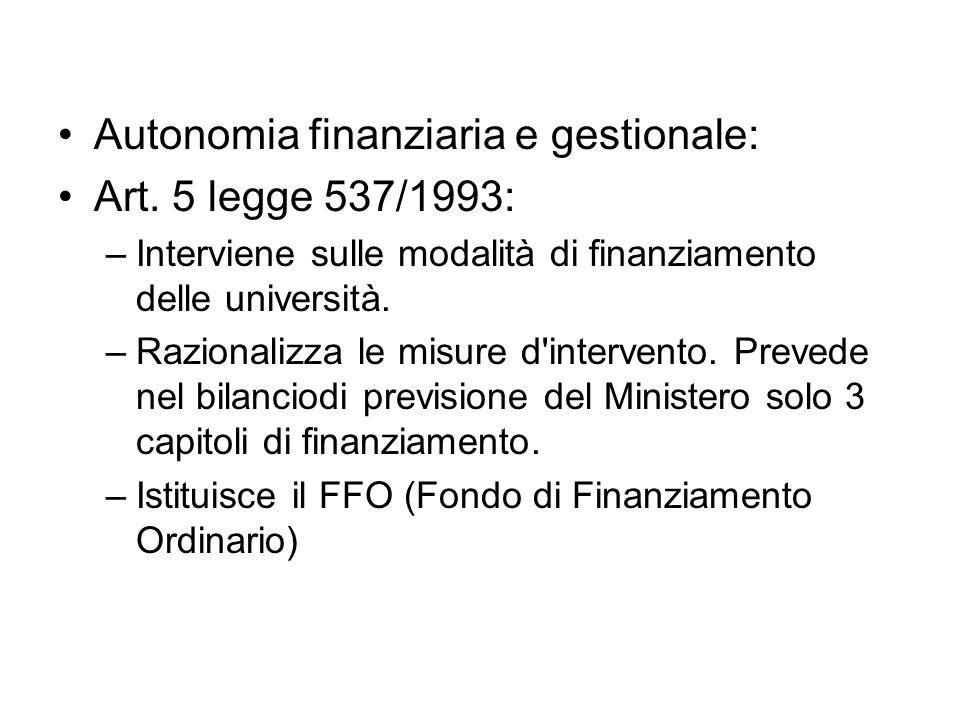 Autonomia finanziaria e gestionale: Art.