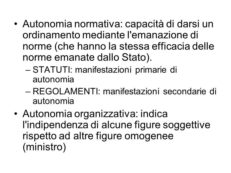 Autonomia normativa: capacità di darsi un ordinamento mediante l emanazione di norme (che hanno la stessa efficacia delle norme emanate dallo Stato).