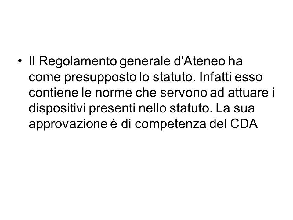 Il Regolamento generale d Ateneo ha come presupposto lo statuto.
