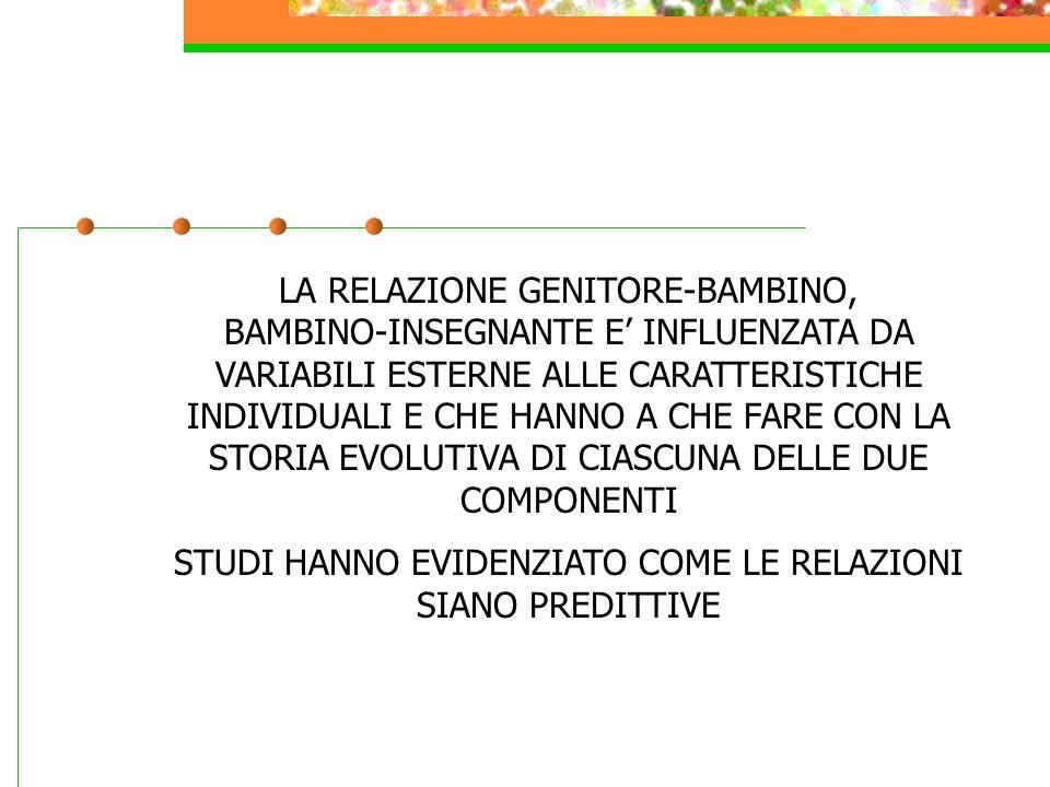 LA RELAZIONE GENITORE-BAMBINO, BAMBINO-INSEGNANTE E INFLUENZATA DA VARIABILI ESTERNE ALLE CARATTERISTICHE INDIVIDUALI E CHE HANNO A CHE FARE CON LA STORIA EVOLUTIVA DI CIASCUNA DELLE DUE COMPONENTI STUDI HANNO EVIDENZIATO COME LE RELAZIONI SIANO PREDITTIVE