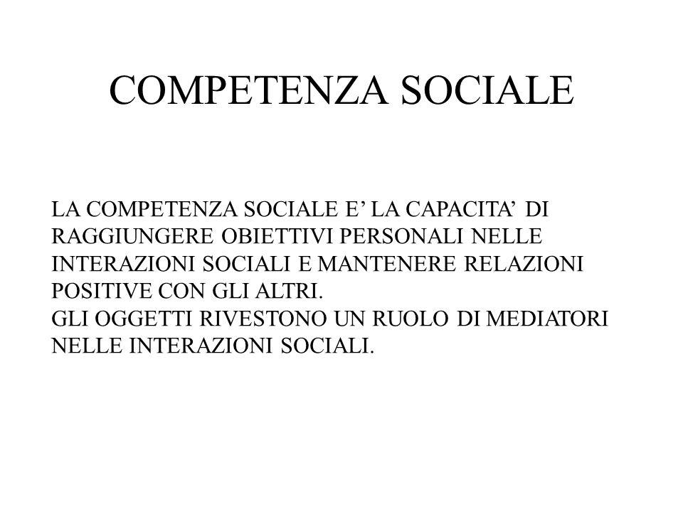 COMPETENZA SOCIALE LA COMPETENZA SOCIALE E LA CAPACITA DI RAGGIUNGERE OBIETTIVI PERSONALI NELLE INTERAZIONI SOCIALI E MANTENERE RELAZIONI POSITIVE CON GLI ALTRI.