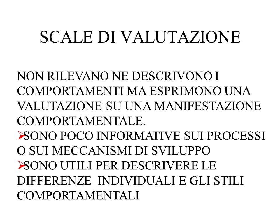 SCALE DI VALUTAZIONE NON RILEVANO NE DESCRIVONO I COMPORTAMENTI MA ESPRIMONO UNA VALUTAZIONE SU UNA MANIFESTAZIONE COMPORTAMENTALE.