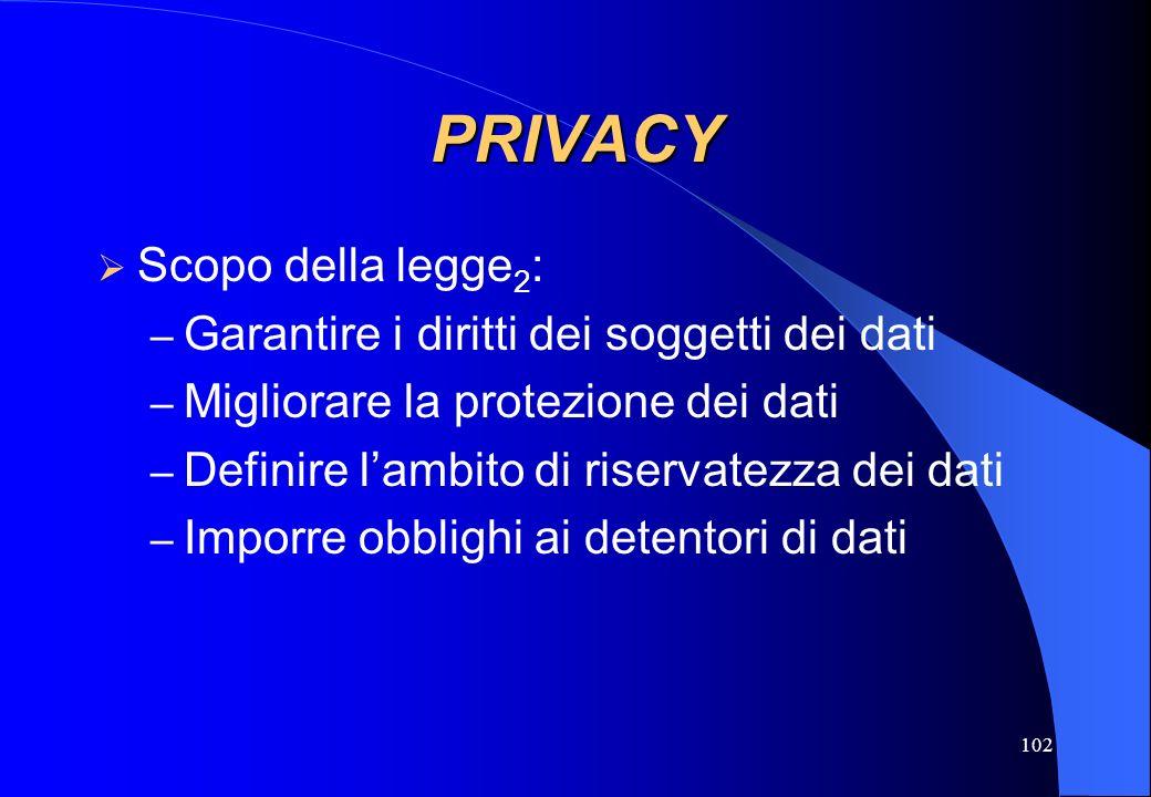 102 PRIVACY Scopo della legge 2 : – Garantire i diritti dei soggetti dei dati – Migliorare la protezione dei dati – Definire lambito di riservatezza d