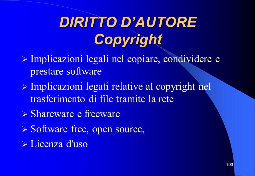103 DIRITTO DAUTORE Copyright Implicazioni legali nel copiare, condividere e prestare software Implicazioni legati relative al copyright nel trasferim