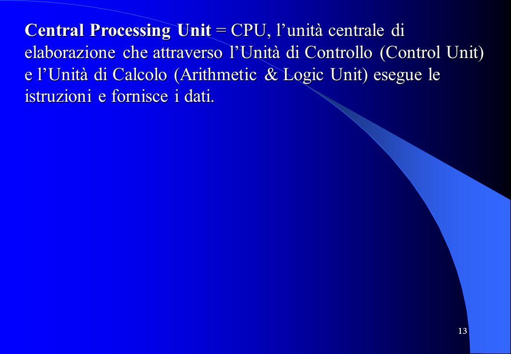 13 Central Processing Unit = CPU, lunità centrale di elaborazione che attraverso lUnità di Controllo (Control Unit) e lUnità di Calcolo (Arithmetic &