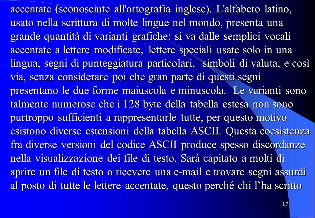 17 accentate (sconosciute all'ortografia inglese). L'alfabeto latino, usato nella scrittura di molte lingue nel mondo, presenta una grande quantità di