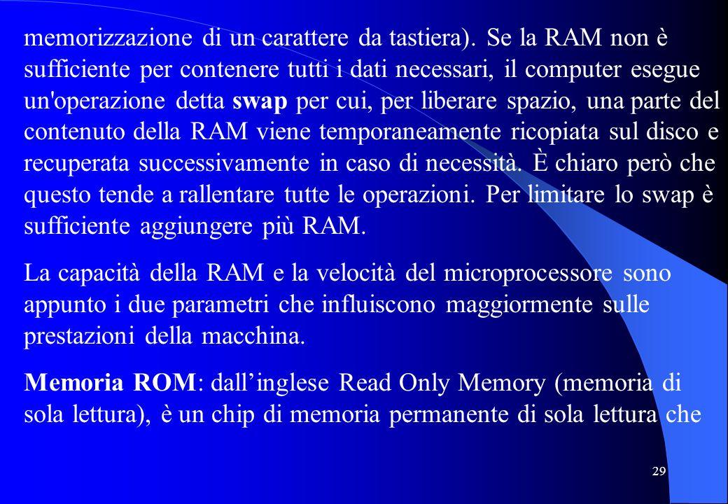 29 memorizzazione di un carattere da tastiera). Se la RAM non è sufficiente per contenere tutti i dati necessari, il computer esegue un'operazione det