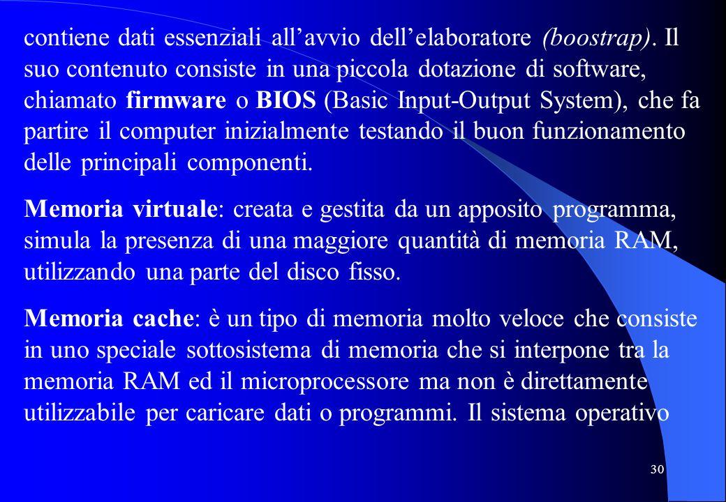 30 contiene dati essenziali allavvio dellelaboratore (boostrap). Il suo contenuto consiste in una piccola dotazione di software, chiamato firmware o B
