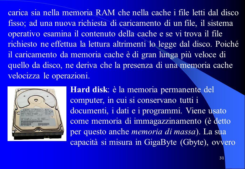 31 carica sia nella memoria RAM che nella cache i file letti dal disco fisso; ad una nuova richiesta di caricamento di un file, il sistema operativo e