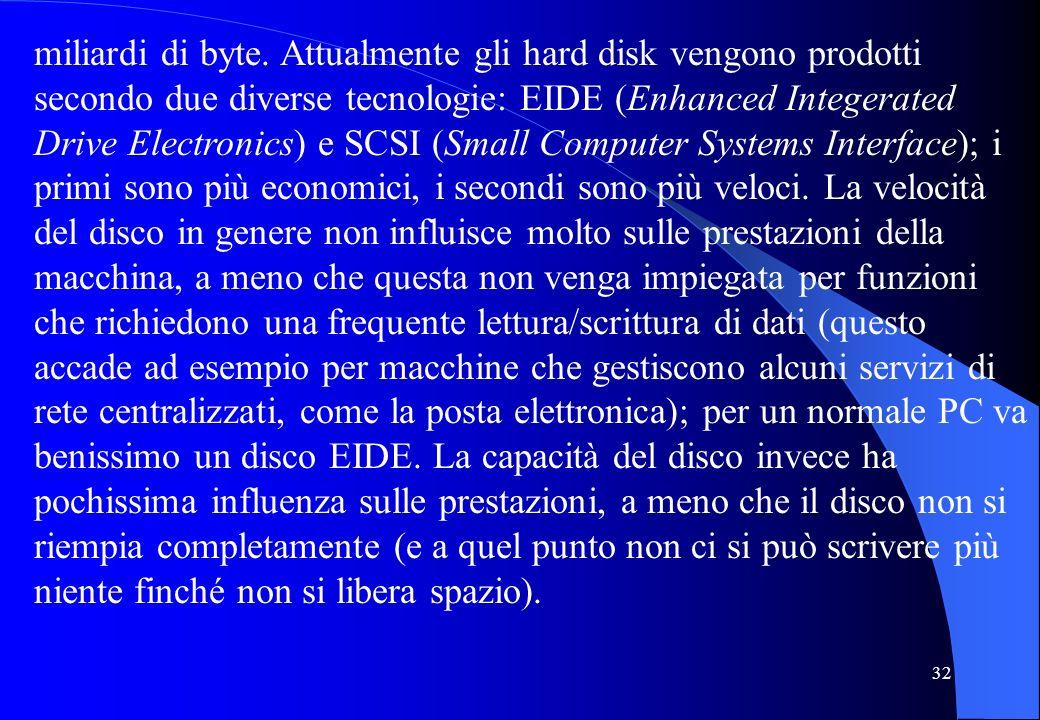 32 miliardi di byte. Attualmente gli hard disk vengono prodotti secondo due diverse tecnologie: EIDE (Enhanced Integerated Drive Electronics) e SCSI (